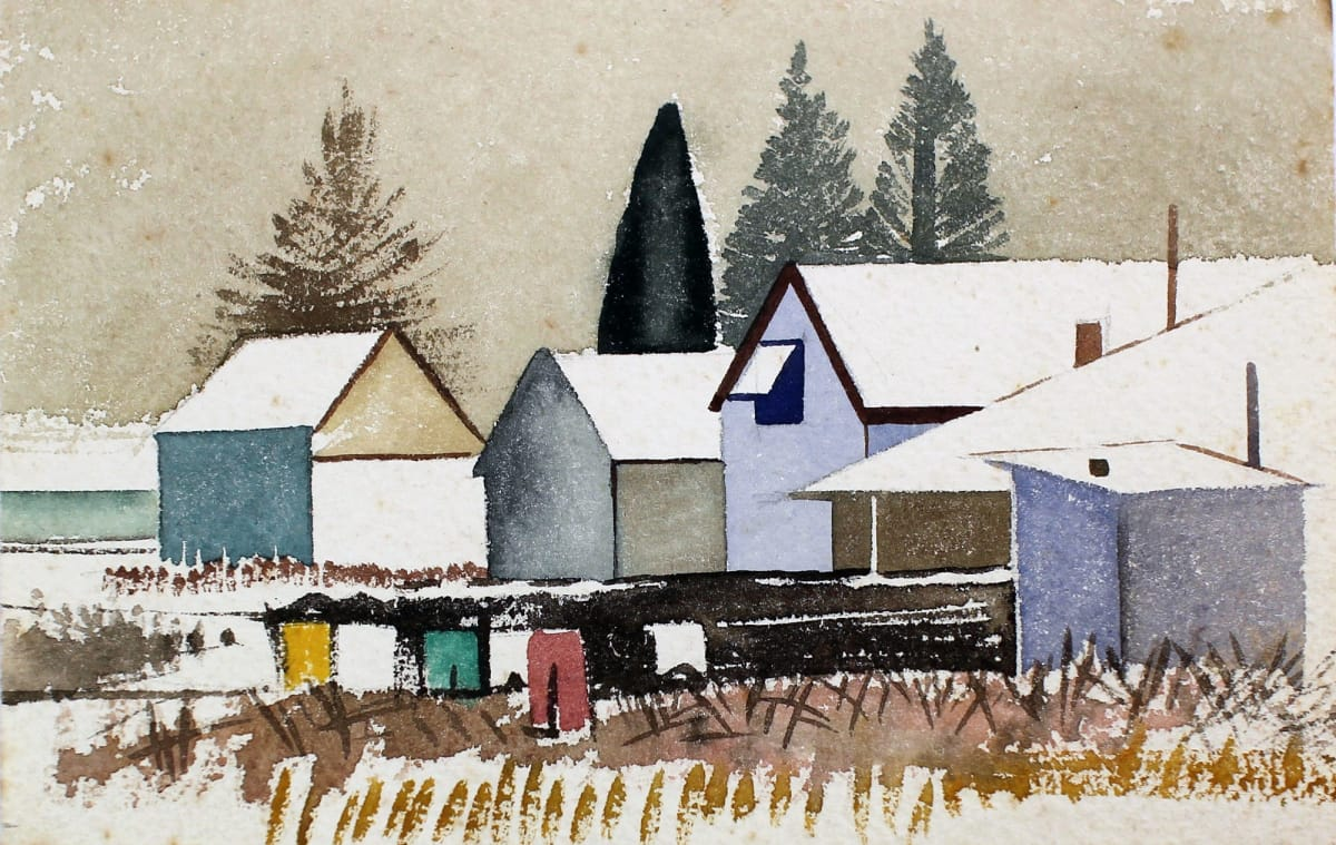 Rita Angus Untitled [Village], n.d. Watercolour on paper 4.7 x 6.9 in 12 x 17.5 cm