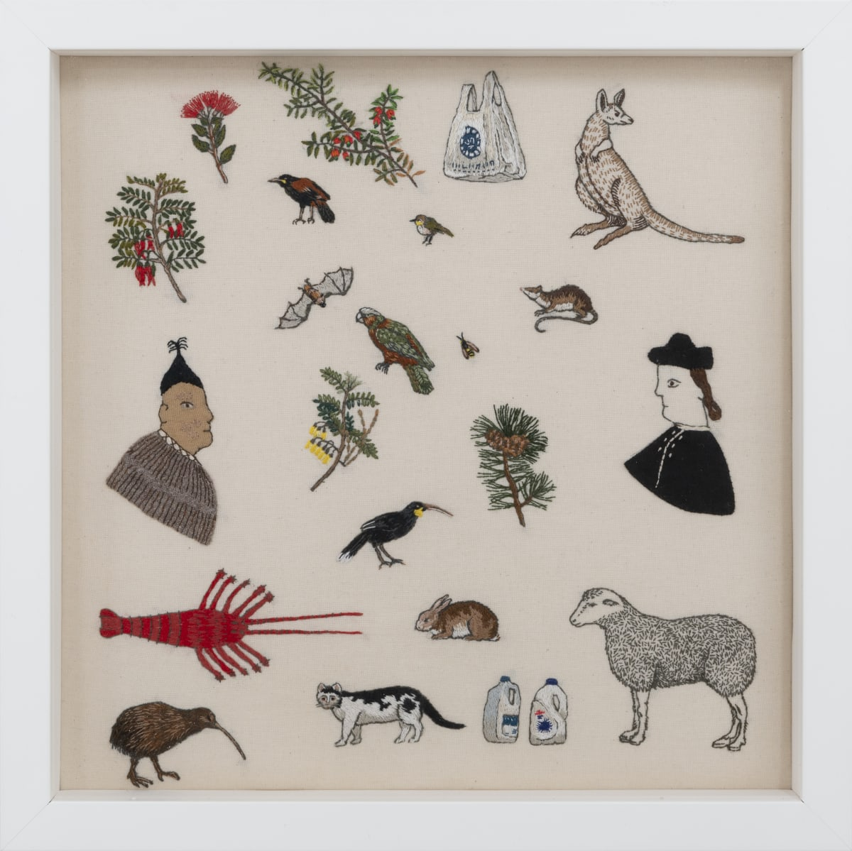 Sarah Munro Trade Items: Spot Sampler, 2019 Unbleached calico, cloth, thread 300 x 300mm