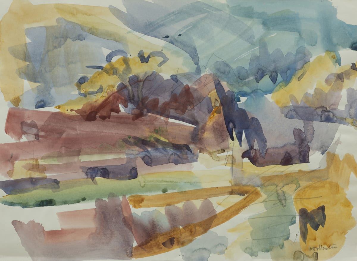 Mountford Tosswill Woollaston Hokitika Landscape, 1961 watercolour on paper 273mm x 372mm