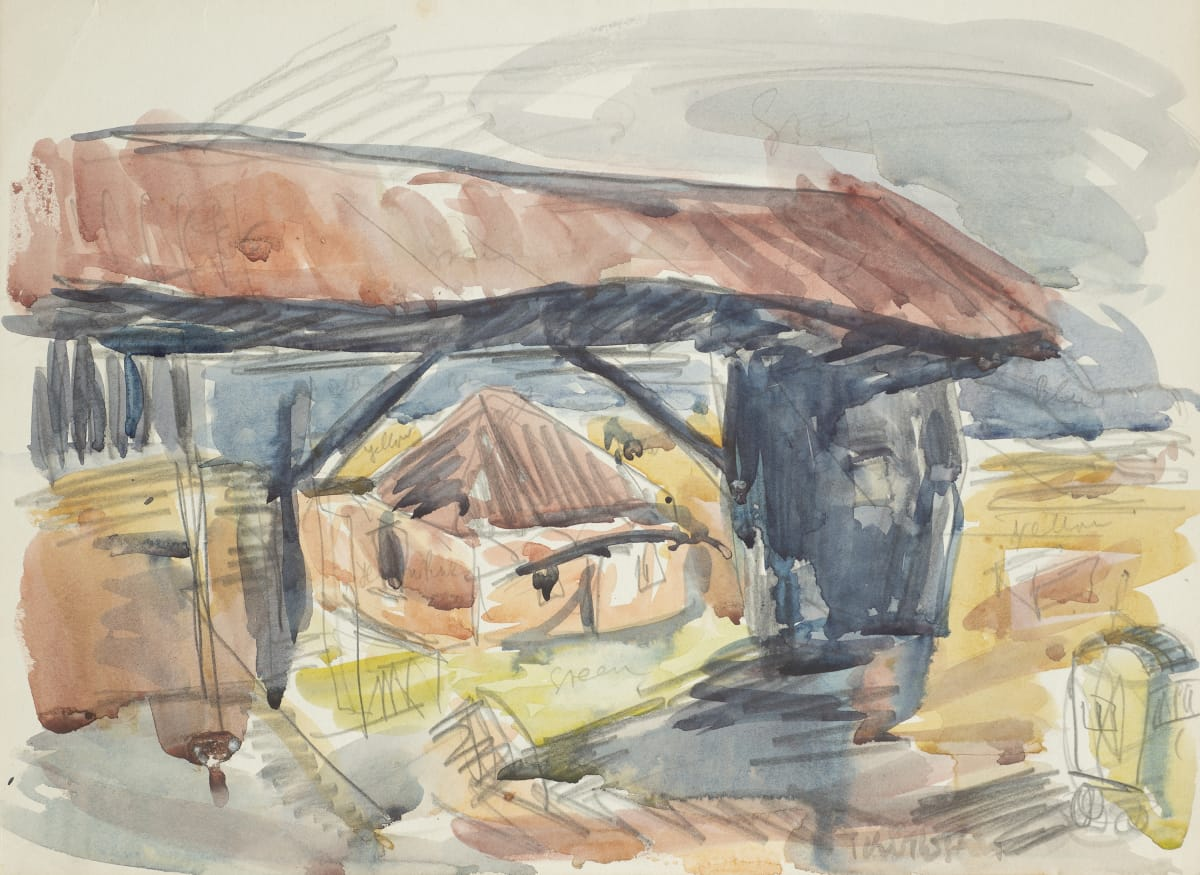 Mountford Tosswill Woollaston Sawmill at Ruru, c1954 watercolour on paper 272mm x 373mm