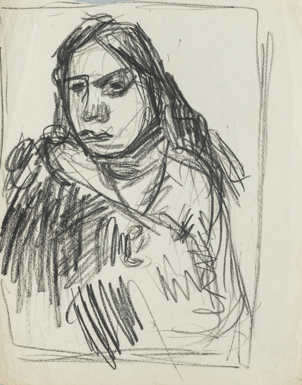 Mountford Tosswill Woollaston Head of a Maori Girl II, c1947 crayon on paper 310mm x 245mm