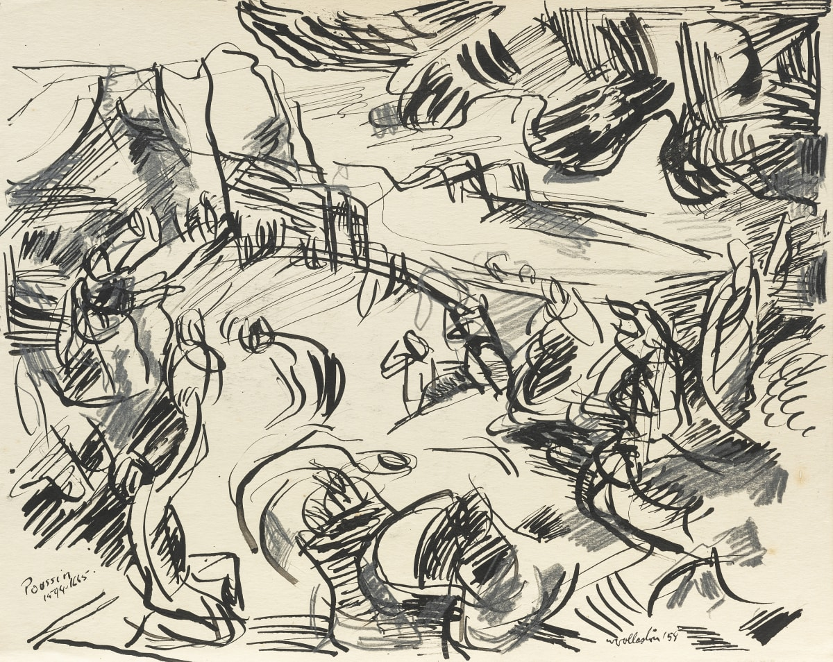 Mountford Tosswill Woollaston After Poussin, Melbourne, 1958 pen, ink and pencil on paper 230mm x 285mm