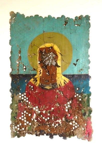 Derek Cowie Rutu, 2016 Oil on prepared lace on canvas 23.6 x 15.7 in 60 x 40 cm