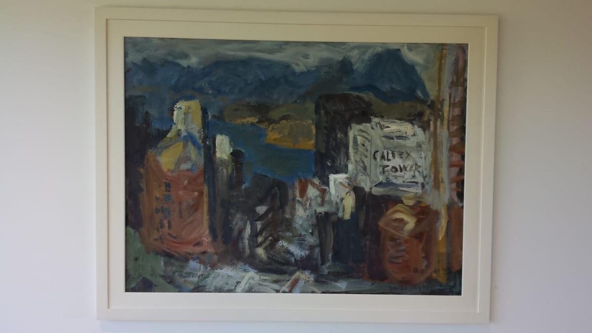 Mountford Tosswill Woollaston  Cityscape [Wellington, Caltex Tower], c. 1992  Oil on board  35.4 x 47.2 in 90 x 120 cm