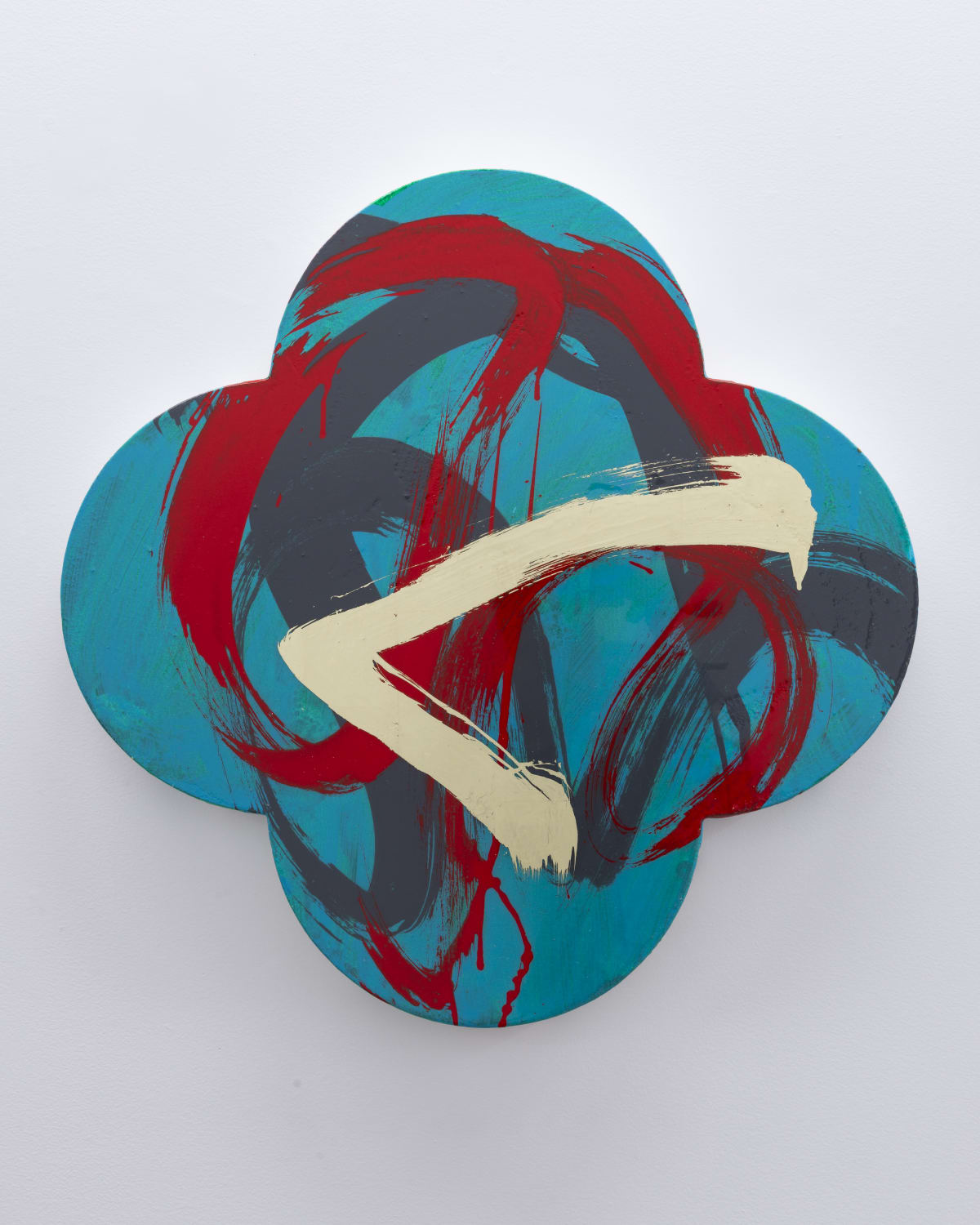 "Max GIMBLETT Pinnacle, 2018 Acrylic, Aquasize, Lemon Gold Leaf, Resin, MSA / Canvas 30"" x 30"""