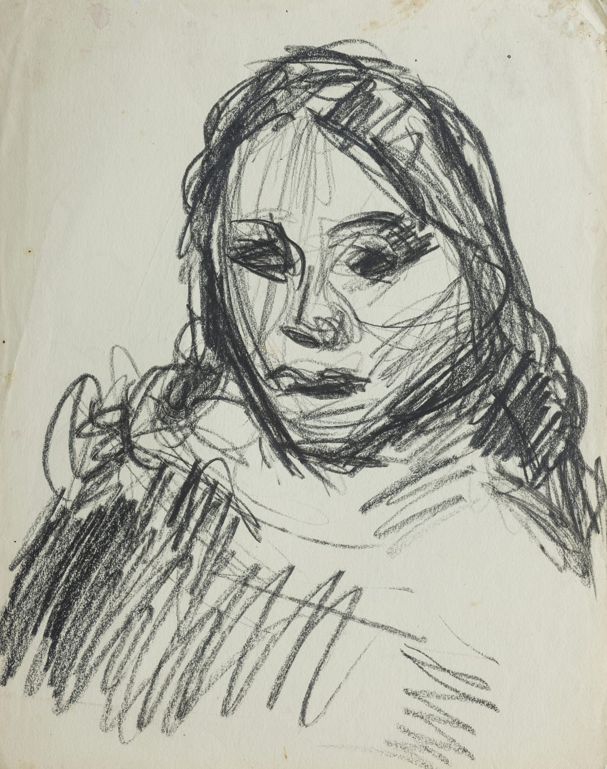 Mountford Tosswill Woollaston Head of a Maori Girl I, 1947 crayon on paper 310mm x 245mm