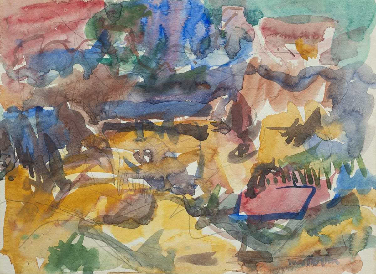 Mountford Tosswill Woollaston Landscape with a Red Roof, c1960 watercolour on paper 270mm x 375mm