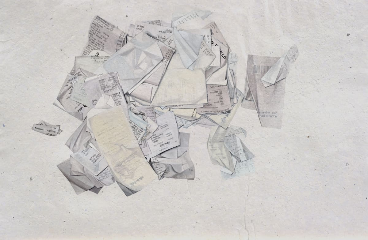 Marita Hewitt Of Itself (Receipts & Shopping Lists), 2016 Watercolour on paper 20.1 x 30.7 in 51 x 78 cm