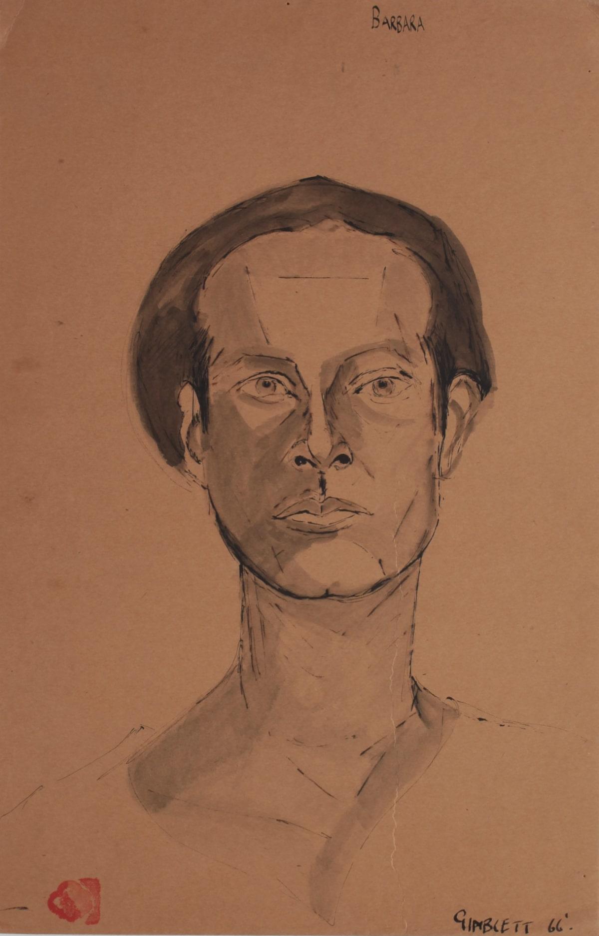 Max GIMBLETT Barbara, 1966 Ink on matte board 17 x 11 in 43.2 x 27.9 cm