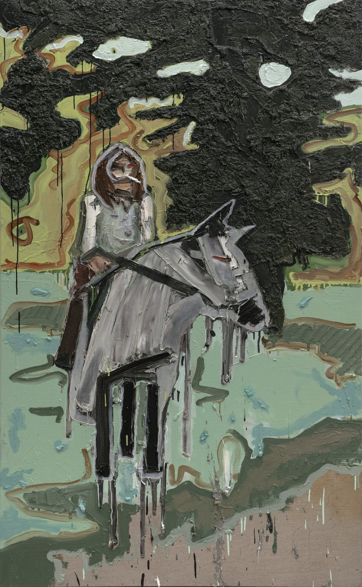 Toby Raine Ozzy Appearing From British Woodlands on Satanic Horse, Smoking A Huge Joint, 2018 Oil on linen 182 x 101.5 cm 71 5/8 x 40 in