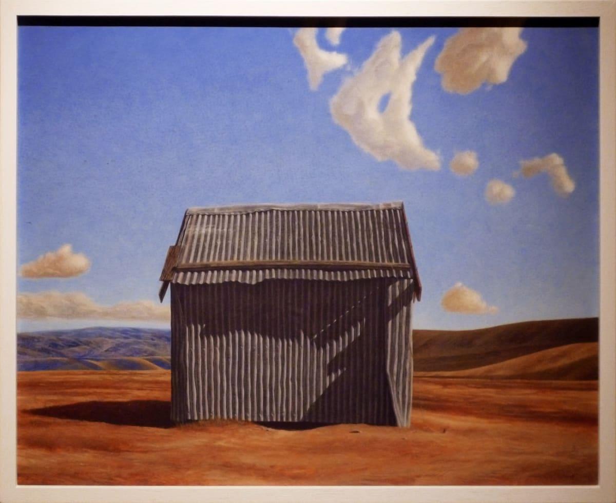 Grahame Sydney Huntaway Hut, 1980 Egg Tempera on Gesso 15.6 x 19.5 in 39.5 x 49.5 cm