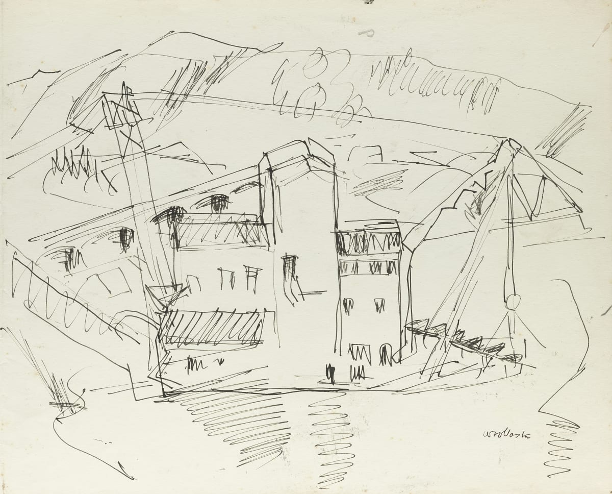 Mountford Tosswill Woollaston Kaniere Gold Dredge, Late 50's pen and ink on paper 250mm x 310mm
