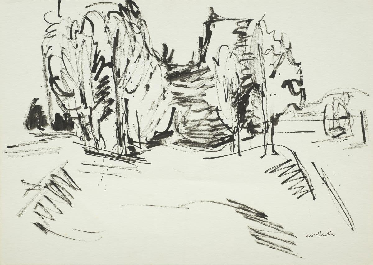 Mountford Tosswill Woollaston Trees Near Motueka, 1960 ink on paper 275mm x 375mm