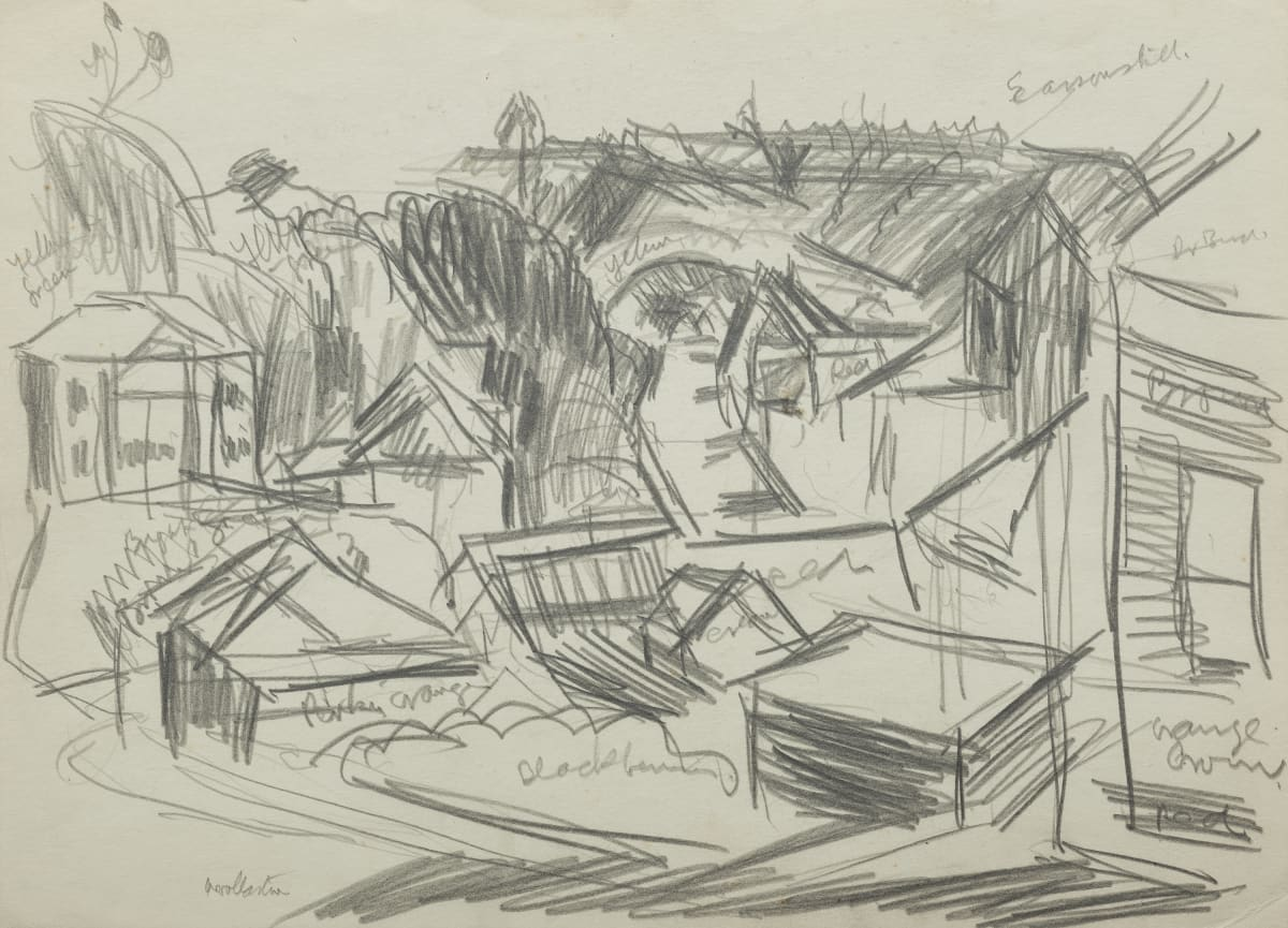 Mountford Tosswill Woollaston View in Greymouth (Alexander Street, Greymouth), c1958 pencil on paper 270mm x 375mm