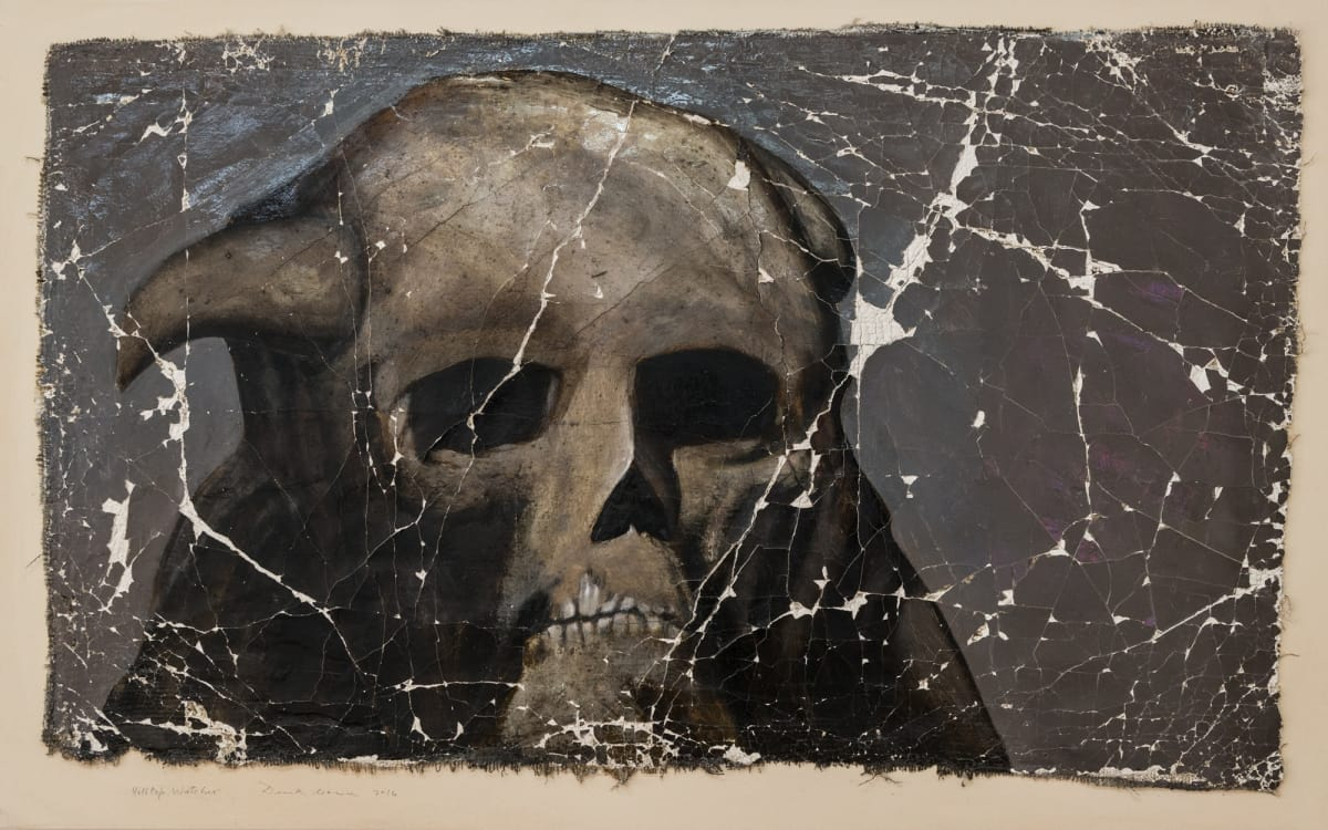 Derek Cowie Hilltop Watcher, 2016 Oil on prepared lace on canvas 33.3 x 53.1 in 84.5 x 135 cm