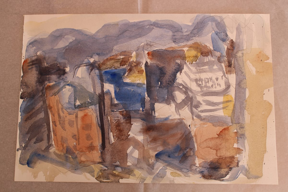 Mountford Tosswill Woollaston  Study for Caltex Tower 5, c. 1992  Watercolour on paper  8.3 x 11.7 in 21 x 29.7 cm