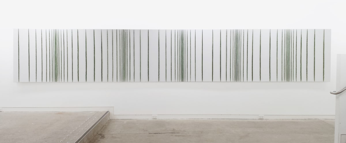 Elizabeth THOMSON Hi Fi, 2006 Bronze, patina, oil paint, lacquer, vinyl wall covering 1260 x 7200 x 50 mm