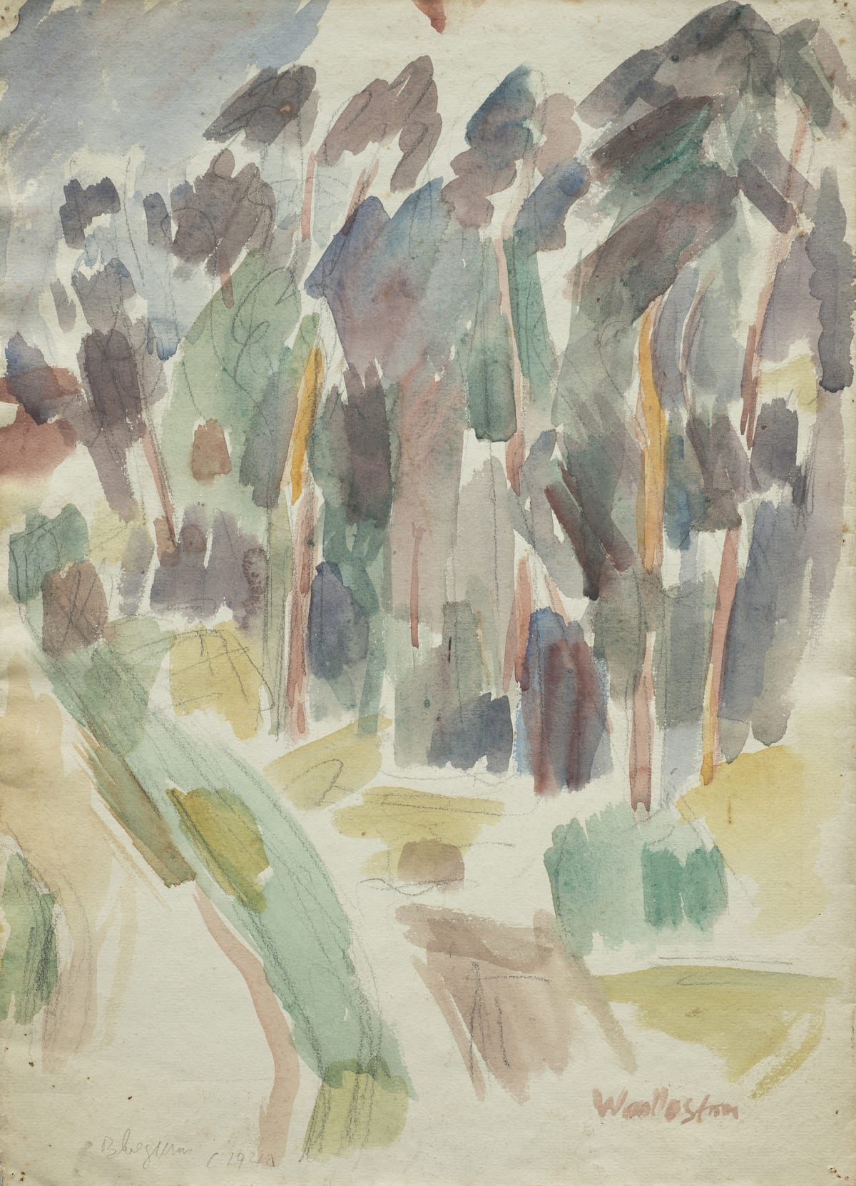 Mountford Tosswill Woollaston Bluegums Higgs Hill, c1940 watercolour and crayon on paper 395mm x 285mm