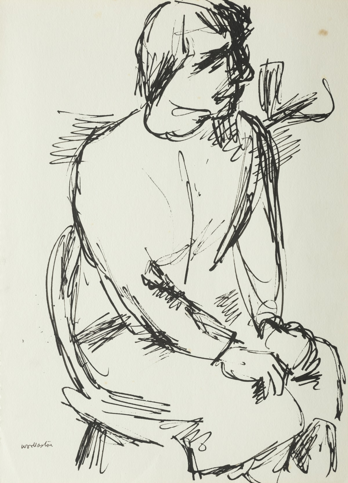 Mountford Tosswill Woollaston A Nurse (seated figure), ND pen and ink on paper 375mm x 275 mm