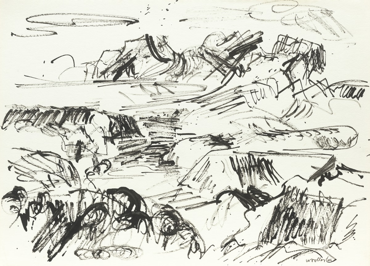 Mountford Tosswill Woollaston From Spooners Range, 1960 ink on paper 275mm x 375mm