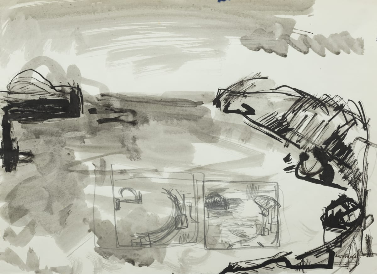 Mountford Tosswill Woollaston Banks Peninsula , 1961 ink and pencil on paper 275mm x 375mm