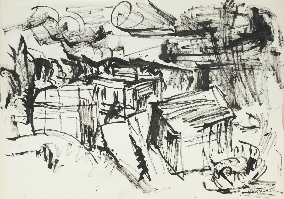 Mountford Tosswill Woollaston Landscape with Sheds and Houses, 1960 ink on paper 275mm x 375mm