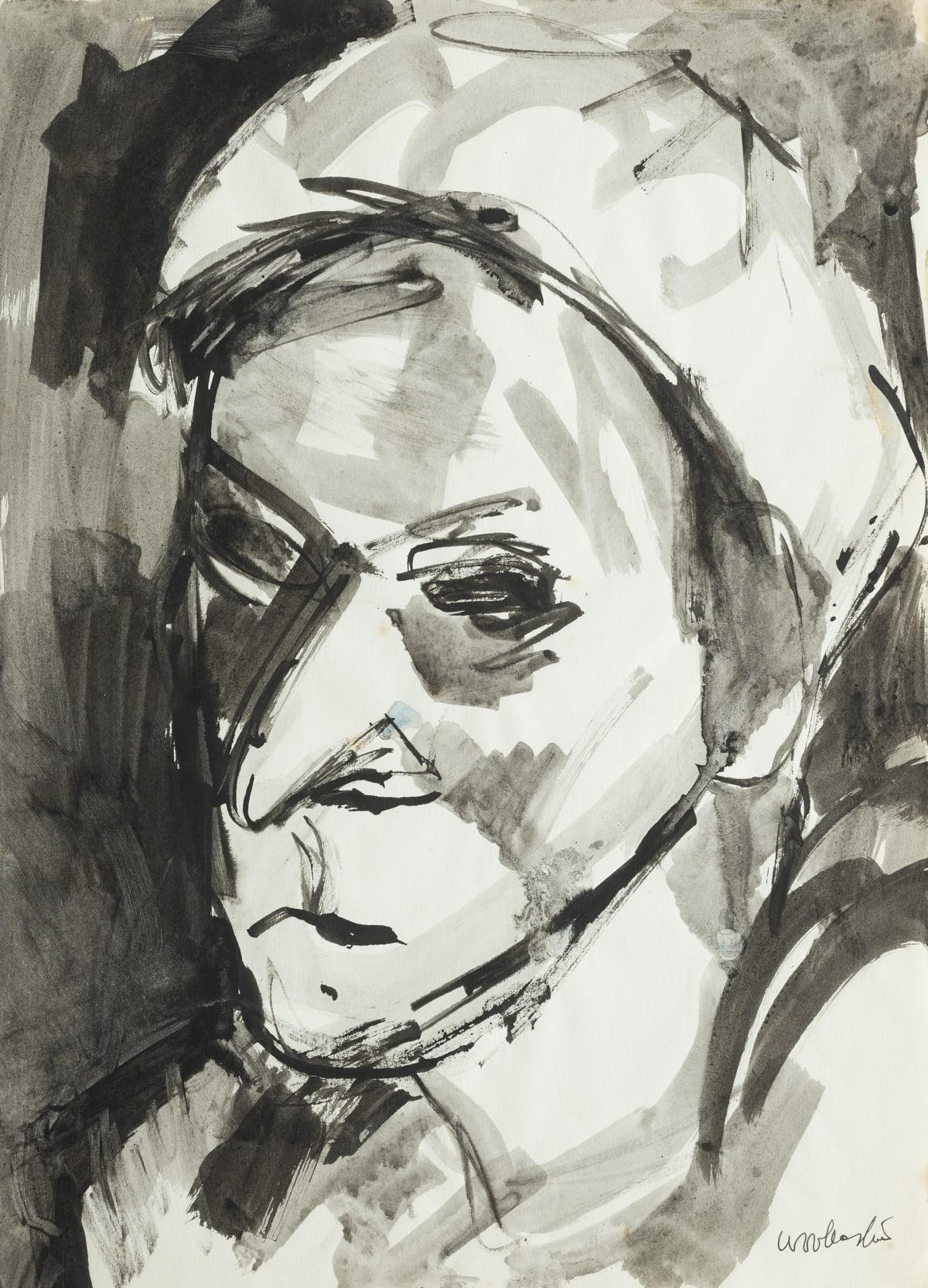 Mountford Tosswill Woollaston Mrs Manson, Takaka, 1961 ink on paper 375mm x 275mm