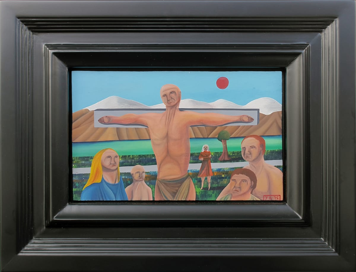 Jeffrey Harris  Untitled [Crucifixion Icon], 1975  Oil on board  385 x 493mm (framed)