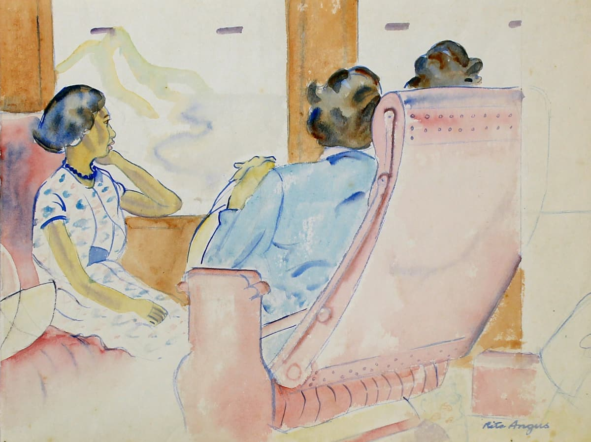 Rita Angus Travelling (Passengers on a Train), 1950s Watercolour on paper 8.8 x 11.5 in 22.3 x 29.1 cm