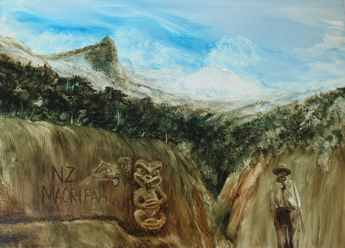 John WALSH NZ Maori Pah Carved into the Bank at ANZAC Cove, 2014 Oil on paper 14.2 x 19.7 in 36 x 50 cm