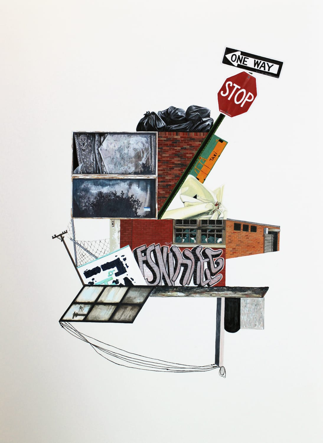Marita Hewitt  Collected Narratives (Stop), 2013  Watercolour on paper  22.4 x 29.9 in 57 x 76 cm