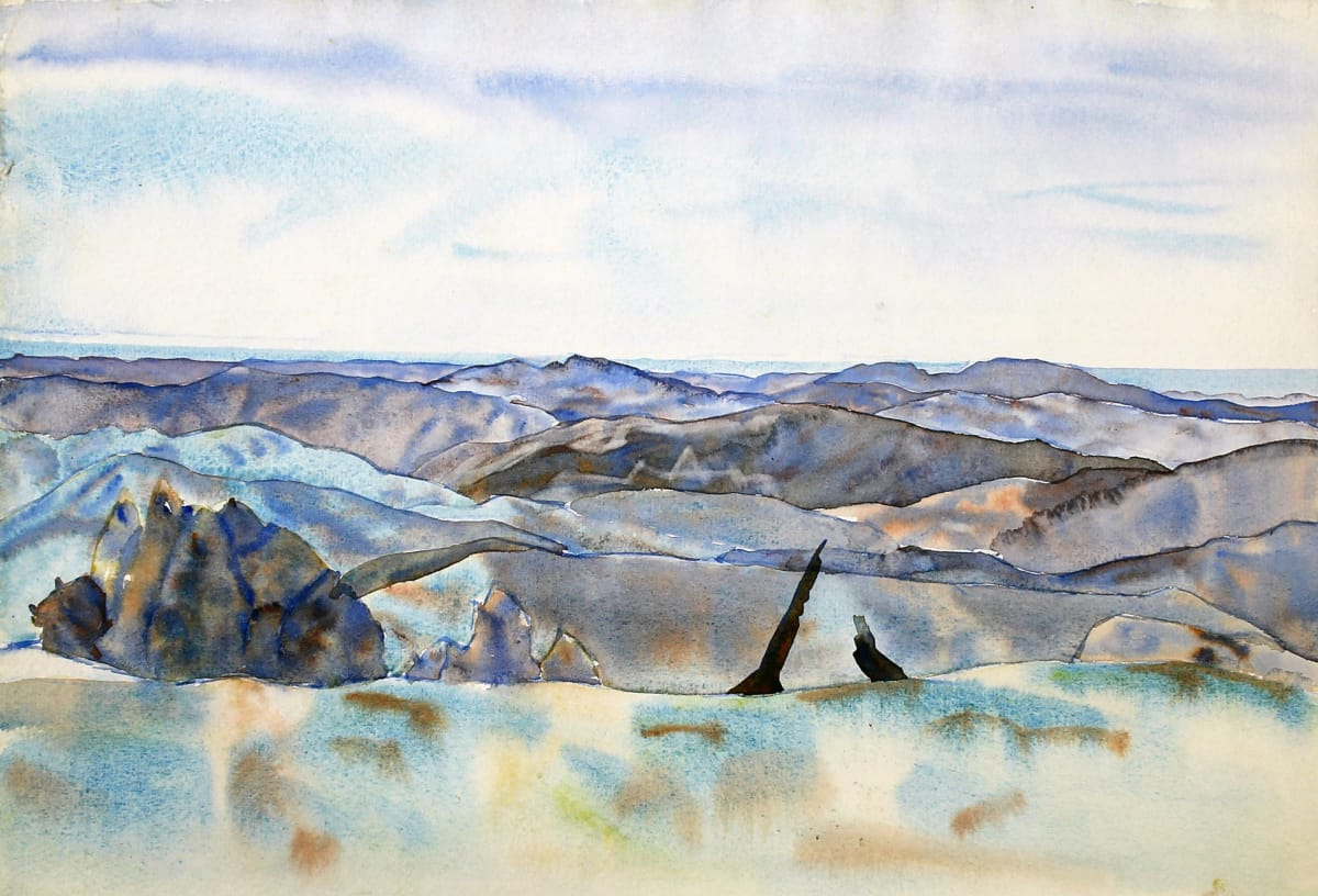 Rita Angus Landscape (Kotemaori, Mangataniwha), c. 1965 Watercolour on paper 11.1 x 15 in 28.3 x 38.2 cm