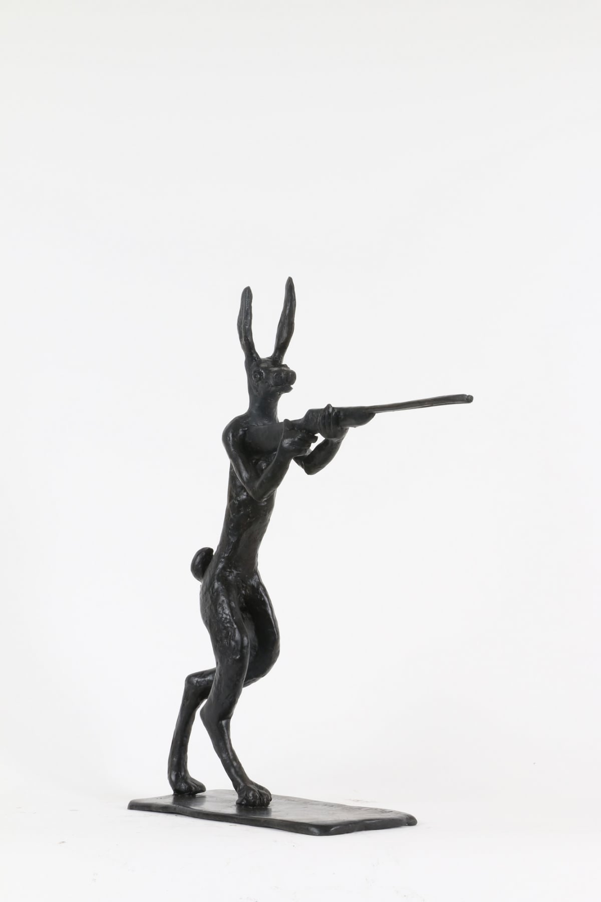 Paul DIBBLE Rabbit Fights Back [Larger Model], 2016 Cast Patinated Bronze 17.7 x 15.7 x 4.7 in 45 x 40 x 12 cm #6/10
