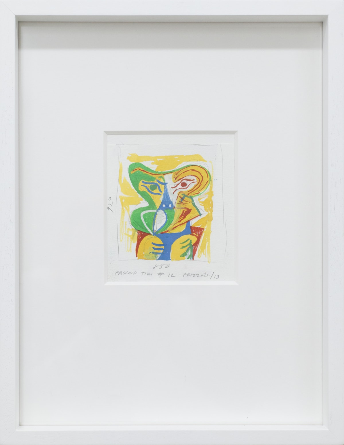 Dick FRIZZELL Pascoid Tiki #12 [Yellow], 2013 Gouache and pencil on paper 4 x 4.1 in 10.3 x 10.1cm 38 x 29cm (framed)