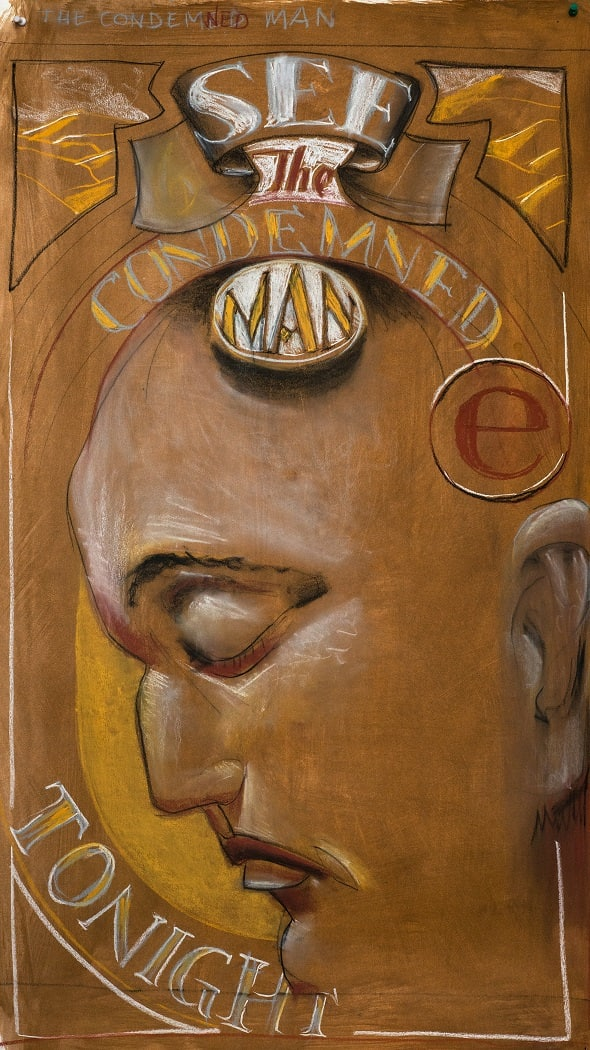 Derek Cowie See the Condemned Man, 2018 Pastel and pencil on paper 103 x 62 cm 40 1/2 x 24 3/8 in