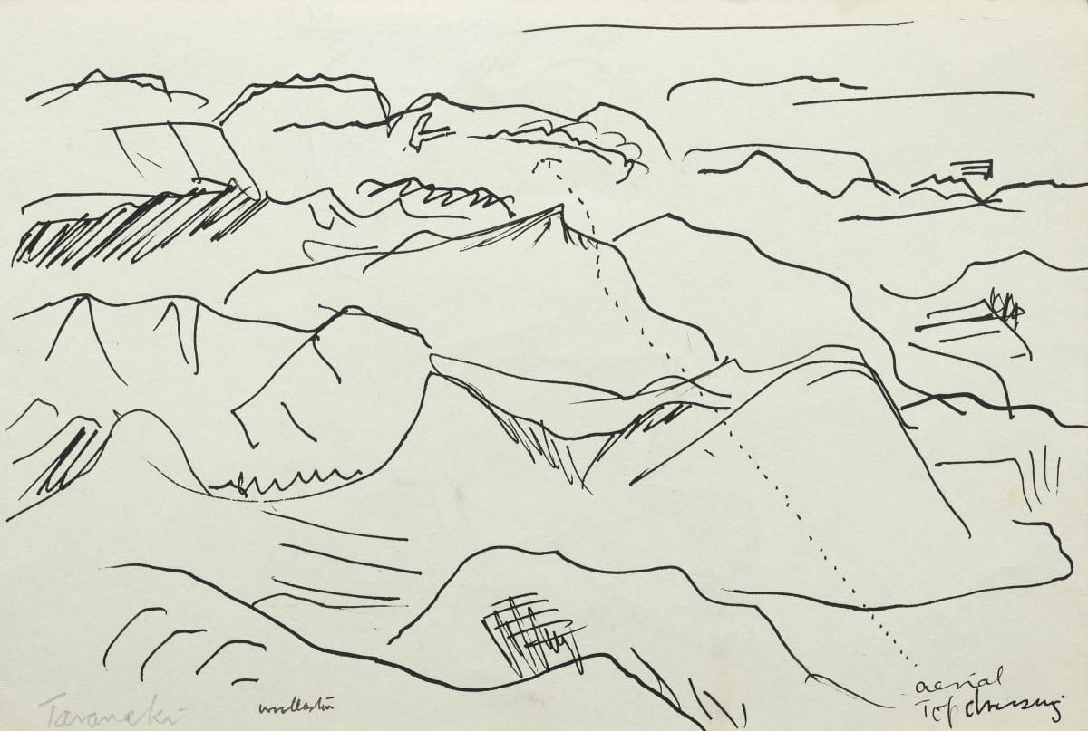 Mountford Tosswill Woollaston Aerial Top Dressing Taranaki, c1960's pen on paper 185mm x 275mm