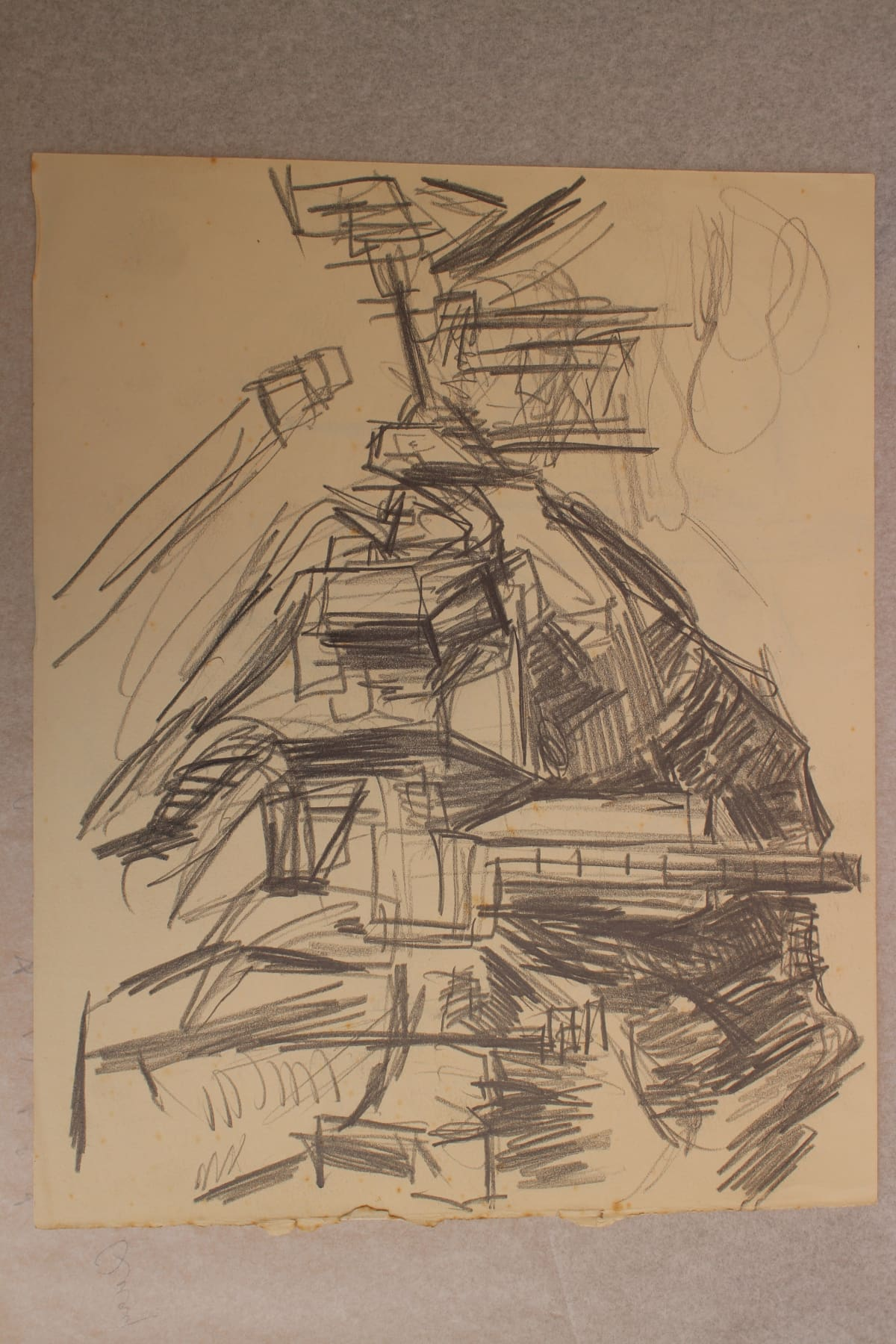 Mountford Tosswill Woollaston  Down on the Quay, Greymouth, 1959  Pencil on paper  9.8 x 12.2 in 25 x 31 cm