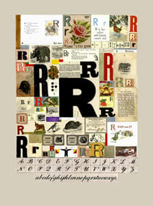 Peter Blake The Letter R, 2007 Silkscreen, embossing and glaze on Somerset satin 300gsm Signed and numbered 52 x 37.5 cm Edition of 60