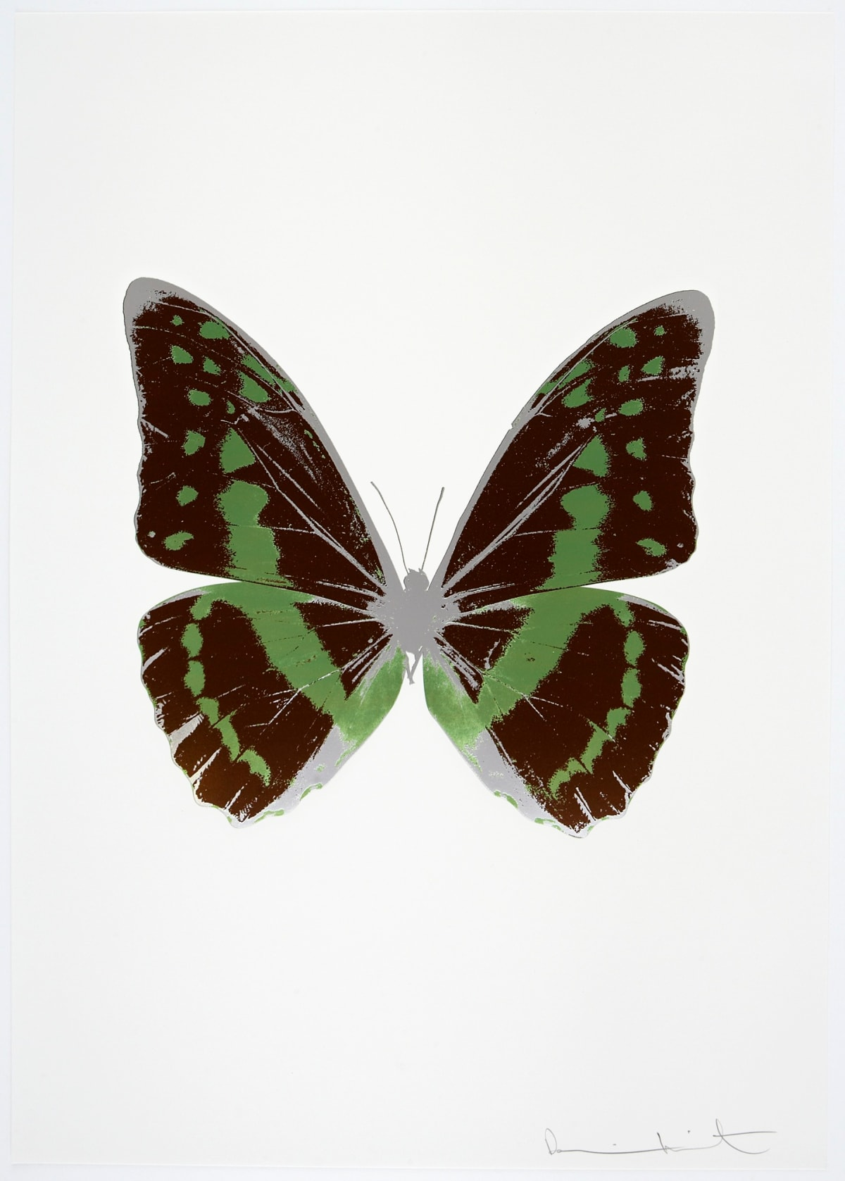 Damien Hirst The Souls III - Chocolate/Leaf Green/Silver Gloss, 2010 3 colour foil block on 300gsm Arches 88 archival paper. Signed and numbered. Published by Paul Stolper and Other Criteria 72 x 51cm OC7933 / 660-36 Edition of 15