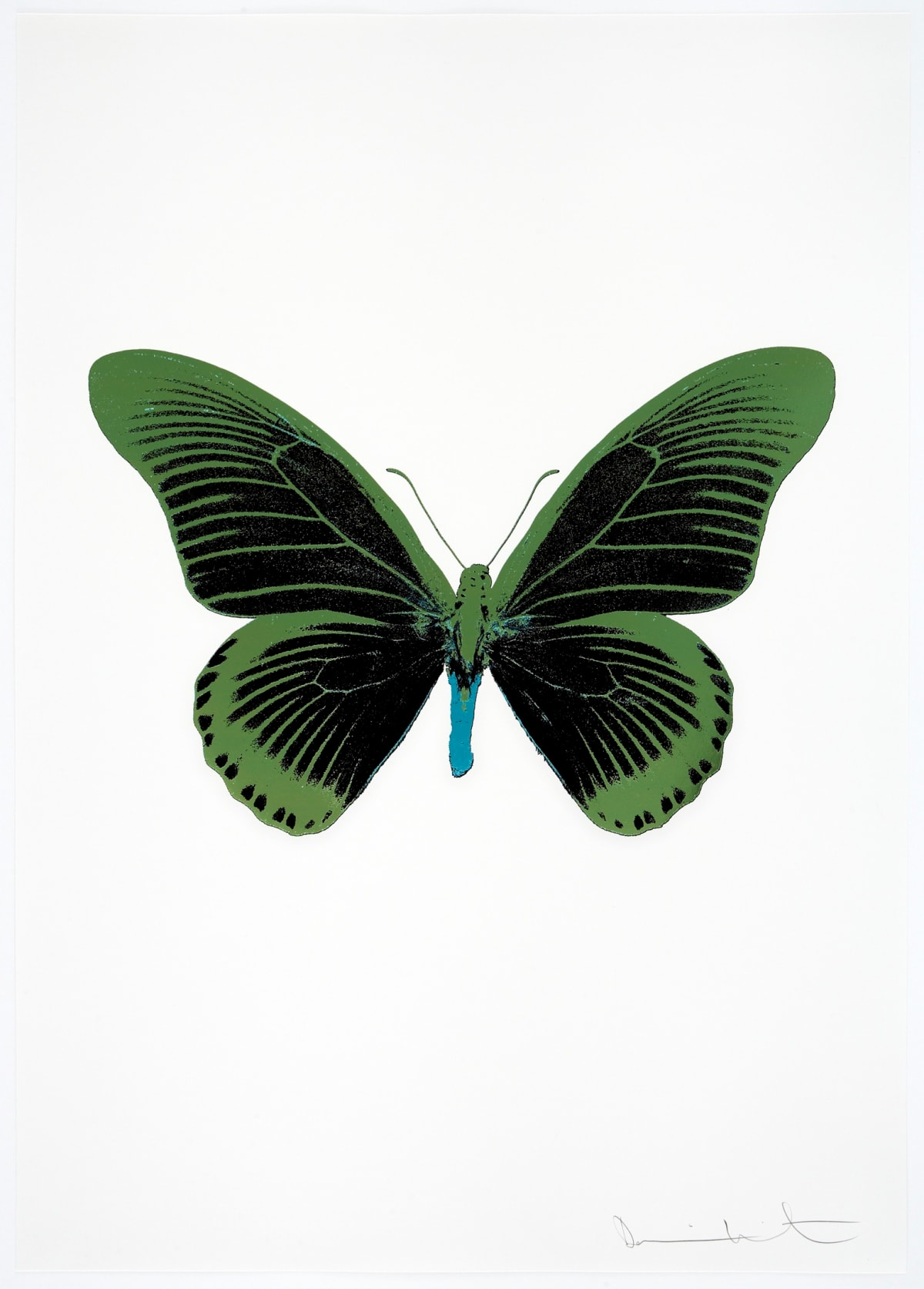 Damien Hirst The Souls IV - Raven Black/Leaf Green/Topaz Damien Hirst butterfly foil print for sale Damien Hirst print for sale , 2010 3 colour foil block on 300gsm Arches 88 archival paper. Signed and numbered. Published by Paul Stolper and Other Criteria 72 x 51cm OC8038 / 1418-61 Edition of 15