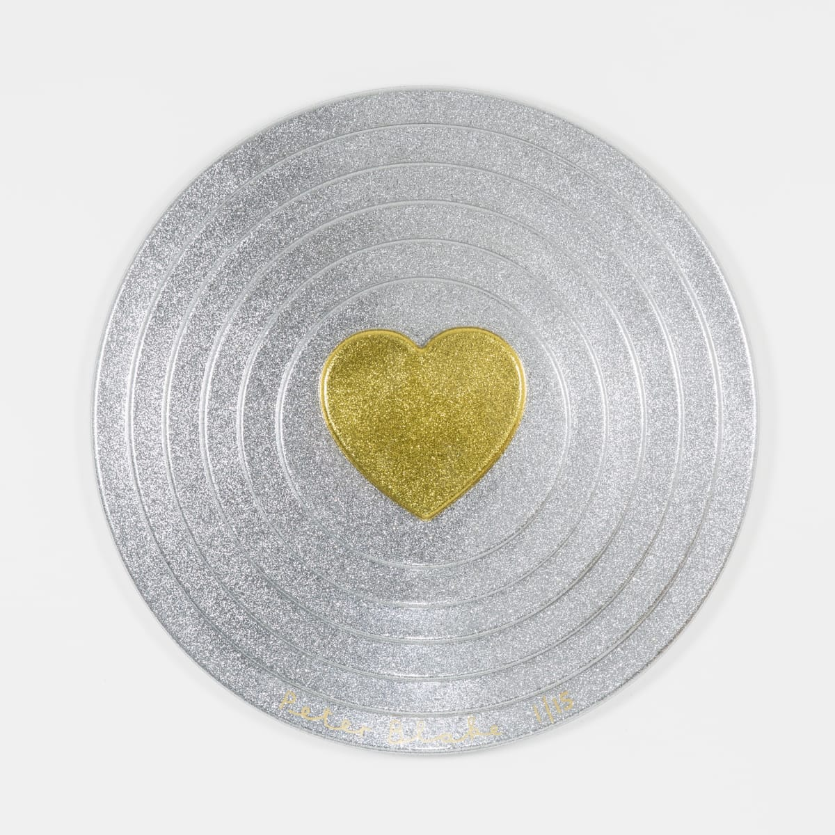 Peter Blake Gold heart on silver Target (metal flake), 2017 Vacuum formed plastic, paint 69 x 69 x 10 cm Edition of 15 Signed and numbered