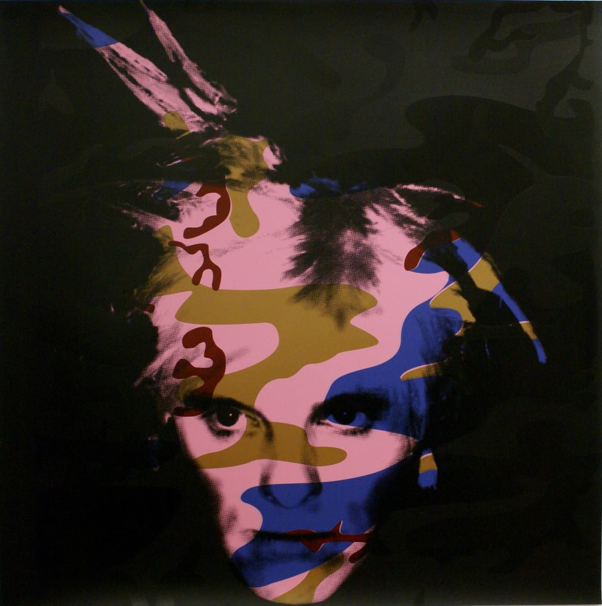 Gavin Turk Camouflage Fright Wig - Blue and Bronze on Pink Signed, numbered and dated,, 2007 Silkscreen on Somerset satin, 410gsm 100 x 100cm 39.4 x 39.4 Edition of 40