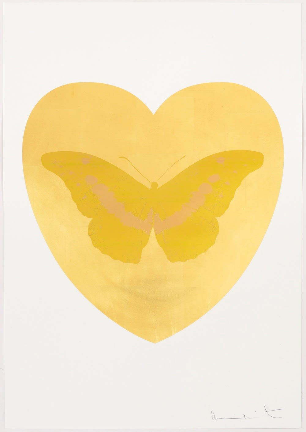 Damien Hirst I Love You - gold leaf, oriental gold, cool gold, 2015 Gold leaf and 2 colour foil block on Somerset Satin 410gsm. OC10332 100 x 70 cm Edition of 14 Signed and numbered