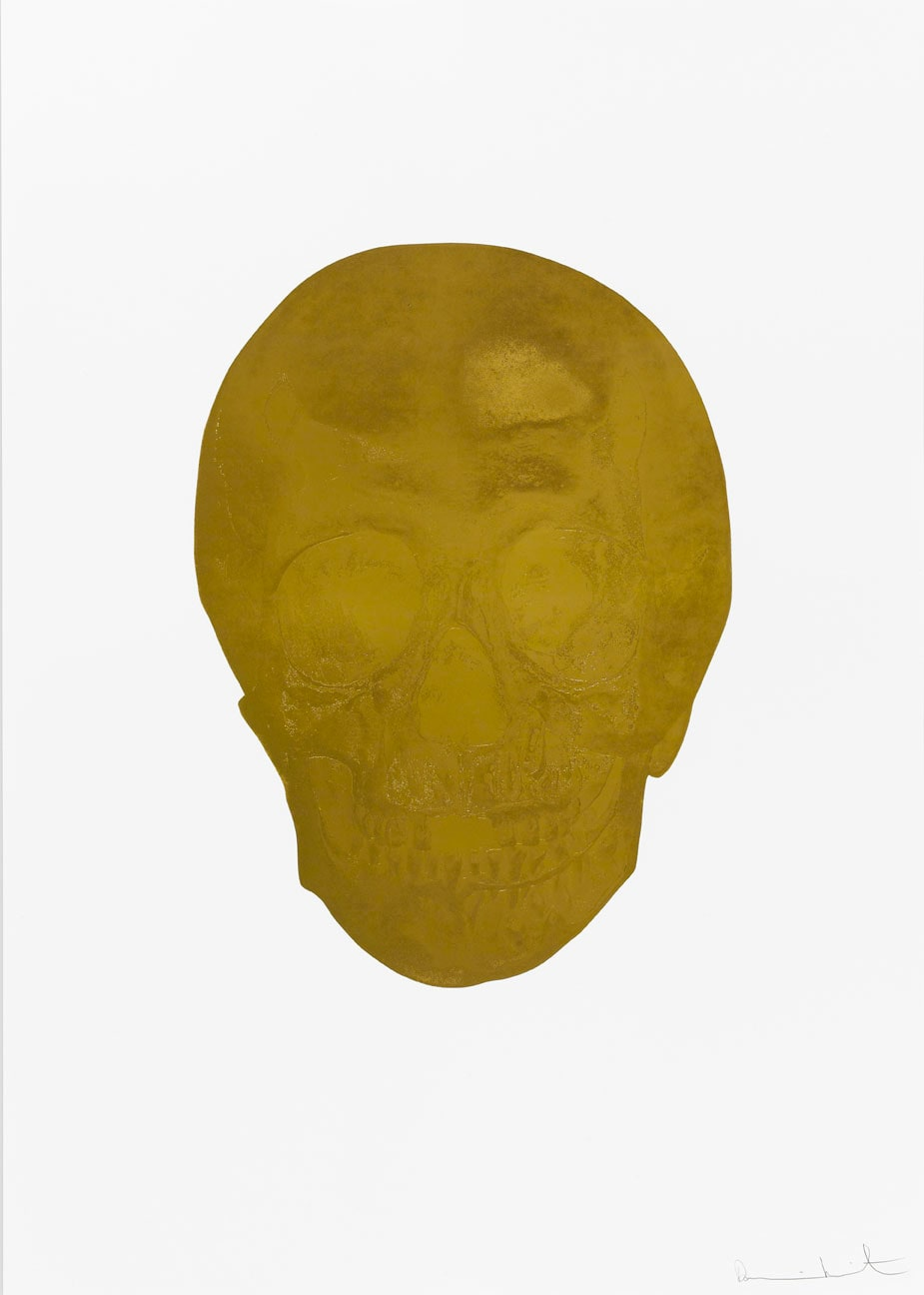 Damien Hirst Death Or Glory European Gold/European Gold Glorious Skull, 2011 2 colour foil block on 300gsm Arches 88 archival paper. Signed and numbered. Published by Paul Stolper and Other Criteria. White aluminium powder coated frame. 72 x 51 cm; Framed 76.8 x 55.8 cm OC8360 Edition of 2