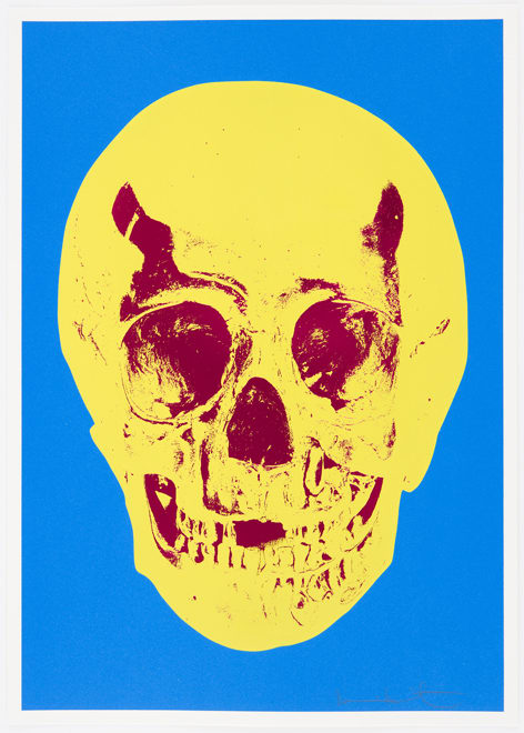 Damien Hirst Cerulean Blue Pigment Yellow Royal Red Pop Up Skull, 2012 Silkscreen,glaze and foilblock on 410gsm Somerset Satin. Signed and numbered. Published by Paul Stolper and Other Criteria. OC9414 52.2. x 37 cm Edition of 50