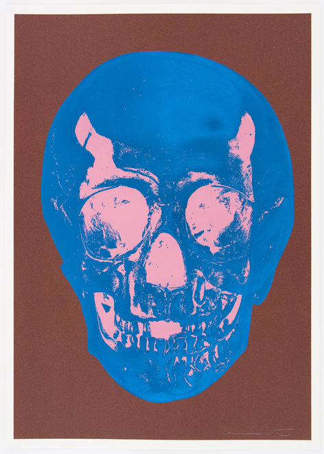 Damien Hirst Milk Chocolate Brown True Blue Bubblegum Pink Skull, 2012 Silkscreen,glaze and foilblock on 410gsm Somerset Satin. Signed and numbered. Published by Paul Stolper and Other Criteria. OC9415 52.2. x 37 cm Edition of 50