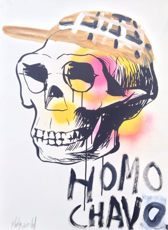 Shaun Doyle & Mally Mallinson Homo Chavo, 2011 Screen print, spray paint and gouache on paper. Signed and dated by the artists. 76 x 57 cm