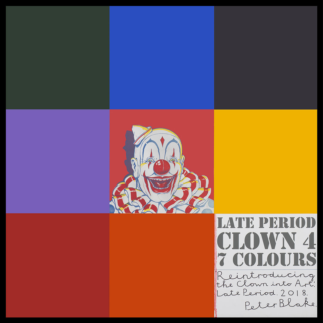 Peter Blake Late Period Clown 4: 7 Colours, 2018 Acrylic, enamel and inkjet print on wood panel Signed, titled and dated 94.2 x 94.2 cm