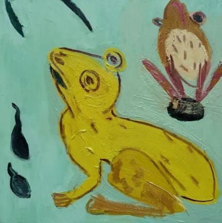 Georgia Hayes Golden Toads, 2014 Oil on canvas. Signed and dated on verso 60 x 60 cm