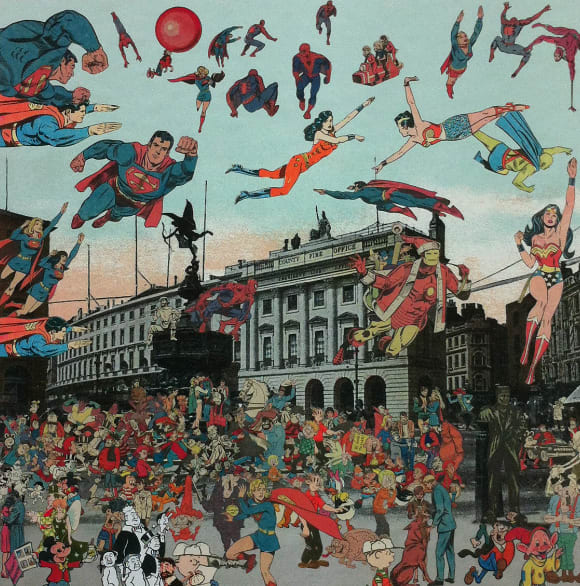 Peter Blake London- Piccadilly Circus- The Convention of Comic Book Characters, 2012 Silkscreen print on 410gsm Somerset Tub Sized Signed and numbered by artist. 66.6. x 65.2 cm Edition of 100